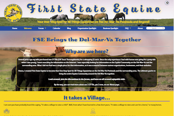 First State Equine Home Page Image